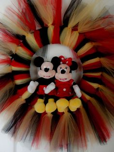 A Mickey Mouse wreath I made for my daughters Kindergarten teacher!