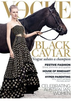 For the first time in its 53-year history, Vogue Australia has featured a horse on its cover.