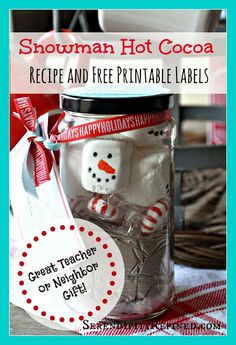 Hot Chocolate Mix Recipe with Snowman Marshmallows in a Jar - Serendipity Refined