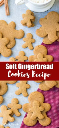 Our FAVORITE gingerbread cookie recipe! Perfectly spiced, soft cookies made with… Our FAVORITE gingerbread cookie recipe! Perfectly spiced, soft cookies made with whole wheat flour and less sugar so they're healthier. Holiday Cookies, Holiday Treats, Christmas Treats, Christmas Cookies For Kids, Christmas Baking For Kids, Healthy Christmas Cookies, Holiday Foods, Ginger Bread Cookies Recipe, Yummy Cookies