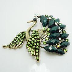 Retro Beautiful Austrian Rhinestone Crystal Peacock Brooch Pin (Ebay)