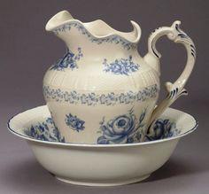 Pitcher and Bowl Set Blue Roses Toile Porcelain