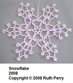 Twisted tatted snowflake by Ruth Perry. Snowflake Craft, Crochet Snowflakes, Snowflake Pattern, Needle Tatting, Tatting Lace, Tree Tat, Snow Flake Tattoo, Tatting Jewelry, Tatting Patterns