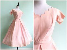 ~ DESCRIPTION ~ The prettiest baby pink party dress with scallop neckline and edged sleeves that make this the perfect understated and unique gown! The dress has a metal side zipper for closure and features a box-pleated, full skirt. Would be the perfect prom or bridesmaid dress. ~ MEASUREMENTS ~  Fits like a Small | Bust: 34 | Waist: 24 | Hips: Free | Shoulders: 15 | Sleeves: 6 | Bodice: 15 | Total Length: 46  | Fabric: Taffeta | Label: None | Condition: Great! Very faint smudge on bodice…