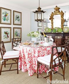 T. Keller Donovan - House Beautiful At first blush, this room does not seem to be heavy on the Chinoiserie, but a closer look reveals bamboo Chinese Chippendale chairs, a gilded pagoda mirror, and a p