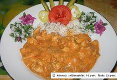 Bakonyi csirkemellragu szalonnával Meat Recipes, Hamburger, Curry, Dishes, Chicken, Ethnic Recipes, Food, Curries, Tablewares