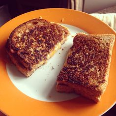Grilled cheese sandwich - 2 x slices small wholemeal bread, 15g cheddar, 15g Red Leicester, 10g butter - make a sandwich, fry in frylite. 3syns