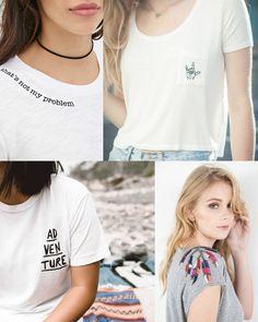 Vocês já sabem que eu sou a louca do Pinterest, não é mesmo! Pois foi lá mesmo no nosso Pinterest e no Tumblr que vi essa super tendência que já está perdurando desde o ano passado. O bordado com mensagens criativas nas t-shirts tá super...