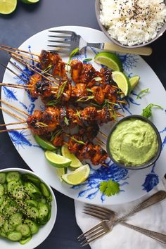 Spicy Asian chicken with cilantro avocado dressing