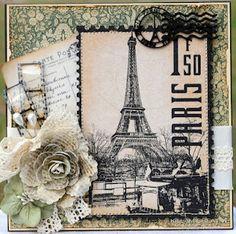 Paris card using Graphic 45, by Susan @ Killam Creative. #Graphic45