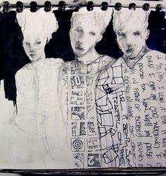 Joe Carreon/ journal art -- eerie figures - lovely! comment from Lesley Birch