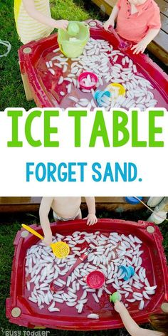 Make an Ice Table Sensory Bin - Busy Toddler - Preschool activities - Summer Activities For Toddlers, Toddler Learning Activities, Infant Activities, Fun Activities, Outdoor Toddler Activities, Toddler Summer Crafts, Activities For Children, Outdoor Activities For Preschoolers, Summer Daycare