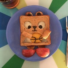 Kid's food art. Playing basketball