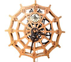 Wooden Spider Wall Clock by WoodDecorTM on Etsy