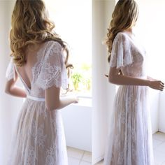 Lace Wedding Dress / einzigartige Hochzeit Kleid / Boho Hochzeitskleid / Brautkleid mit Ärmel / Strand Brautkleid / Open wieder Kleid