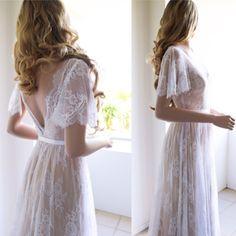 Lace Wedding Dress/ Unique Wedding Dress/ Boho by SilkBrides