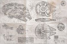 Millenium Falcon Blueprint - (Whiteprint Edition)