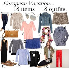 what to pack: Europe! 18 days in one small suitcase? Going to have to remember this for my trip. Packing For Europe, Packing Tips For Travel, Packing Ideas, Vacation Packing, Vacation Outfits, Travel Essentials, Travel Wardrobe, Capsule Wardrobe, Preppy Wardrobe