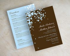 pale blue and brown invitations