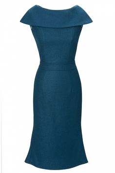 Collectif Clothing - 60s Ophelia Wiggle dress in Petrol blue