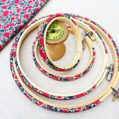 Red 'Rosalind B' Liberty Fabric Tana Lawn fabric covered Embroidery Hoops - 6 inch with Back / without glue