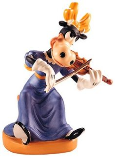 WDCC Disney Classics Symphony Hour Clarabelle Cow Clarabelle's Crescendo #WDCCDisneyClassics #Art.  Cello: Painted two shades of brown. Hat: Detailed in two shades of blue. Bass Cello Bow: Metal, with keys enhanced with gold, as is metal support. Cello is sculpted as a separate add-on piece.  Retired Edition 9/97.