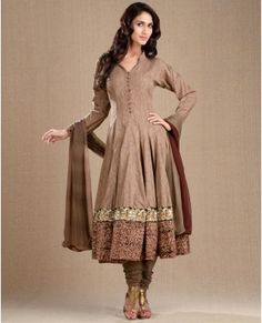 Khaki Brown Kalidar Suit with Kalamkari Printed Hemline