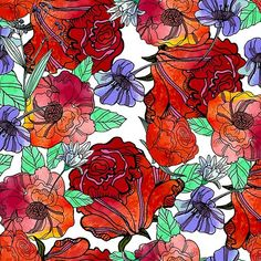 Bright colorful floral pattern. Roses and violas. Watercolor textured.