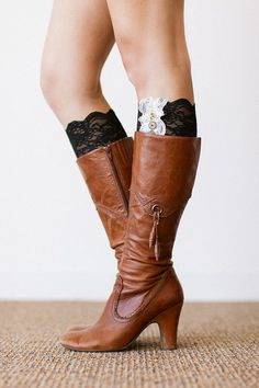 Lace Boot Cuffs Faux Leg Warmers or Boot Toppers by ThreeBirdNest, $28.00