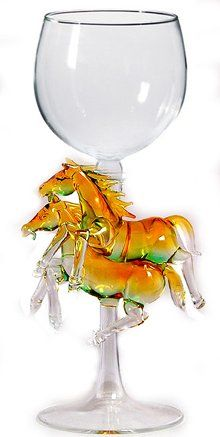 Hand Blown Two Horses Wine Glass by Yurana Designs  W274 -- Read more  at the image link.