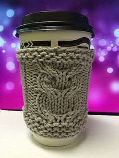 Simple coffee or tea cozy with an owl detail. The owl chart uses yarn overs for…