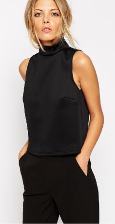 ASOS Top With High Neck In Smart Fabric