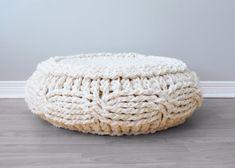 DIY Crochet PATTERN - Crochet Cable Footstool Cover fits Ikea's Alseda Footstool diameter x high Crochet Pouf, Knitted Pouf, Crochet Cable, Crochet Diy, Chunky Crochet, Crochet Hooks, Ravelry Crochet, Crochet Purses, Cable Knit
