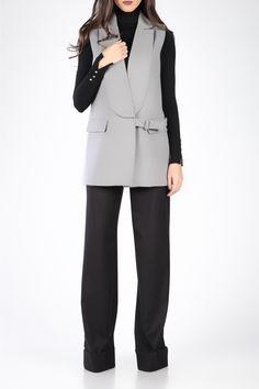 106fc20752 FAMOUS OVERSIZED LAPELS LONG VEST - TGH Fashion