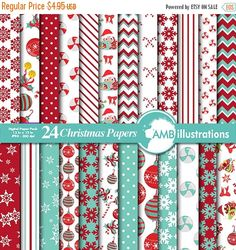 80% OFF Traditional Christmas digital paper by AMBillustrations