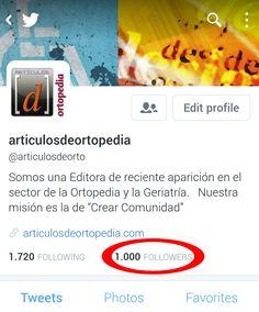 Nuestra cuenta en Twitter ha alcanzado los 1.000 Followers, os invitamos a visitarla:  https://twitter.com/articulosdeorto Muchas gracias a todos! Thank you very much to all! - Artículos de Ortopedia