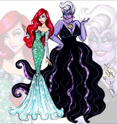 Ariel & Ursula  Disney Princesses and their villains done by Hayden Williams