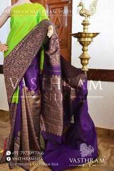 073590c49c55e Parrot Green And Purple Vanashringaram Partly Kanchivaram Silk Saree With  Rising On Pleats And Contrast Purple Blouse.