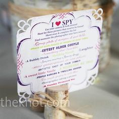 'I SPY' to help guests take the pics you would love