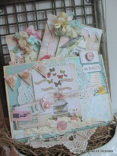shabby chic HAPPY butterflies pocket with set of two handmade cards decoration gift set