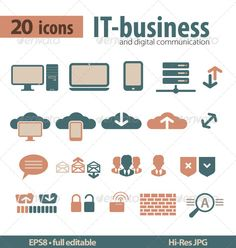 Buy IT-bisiness and Digital Communication Icons by jet_spider on GraphicRiver. Set of 20 IT-bisiness and Digital Communication Icons Cleaning Icons, Shield Icon, Communication Icon, Hands Icon, Fitness Icon, Computer Laptop, How To Make Signs, People Icon