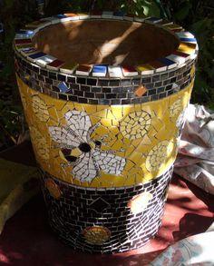 Yellow garden bee pot, via Flickr.