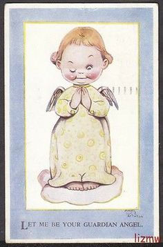 Mabel Lucie Attwell LET ME BE Your Guardian Angel Winking ON Cloud ART Card | eBay