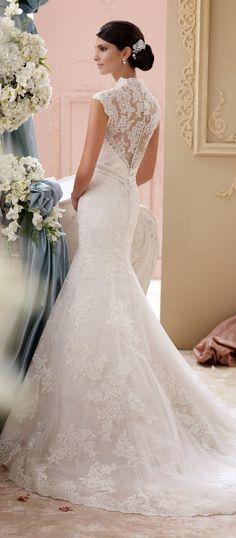 Lace Back Wedding Dresses - David Tutera For Mon Cheri Spring 2015