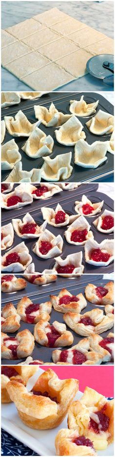 "Cranberry Brie Bites. 3/4"" cubes of brie, 2 tsp of cranberry sauce. Bake at 375° for 10 min."