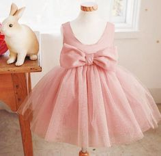 Posh Pink Bow Dress  flower girl dress girls by NikkiKatebyJB
