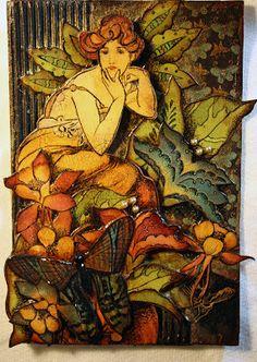 "Victoria's Art Visions: Sunday Post Card Art ""Altered Alphons Mucha"""