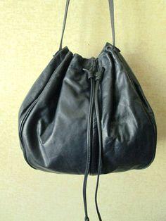 Drawstring Bag dark navy midnight blue leather satchel hobo shoulder bag slouchy boho sling bag vintage 70s Juliette Originals leather purse by MySoftParade on Etsy