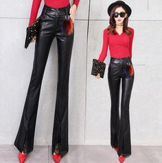 Womens Slim Fit Pu Leather Flared Bootcut Black Pants Sexy Casual Trousers H788 – Girls Who Shop