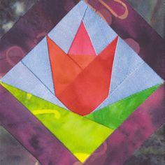 Framed Tulip Quilt Block Pattern